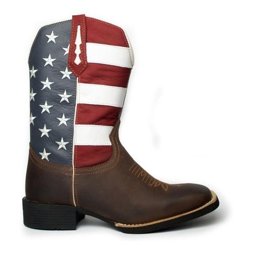 Bota Texana Masculina Estados Unidos em Couro Bico... - TEXASKING