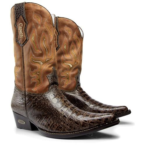 Bota Texana Western Masculina De Bico Fino em Cou... - TEXASKING