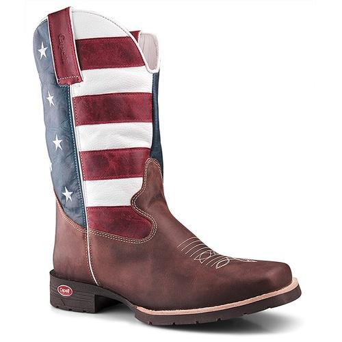 Bota Texana De Bico Quadrado Estados Unidos em Cou... - TEXASKING