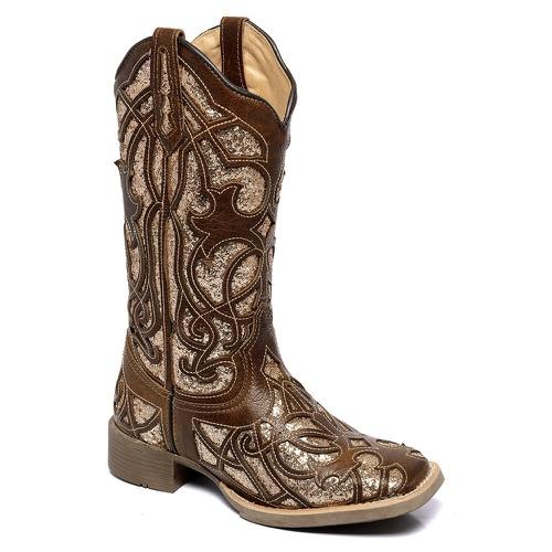 Bota Feminina Texana em Couro na cor Marrom com Glitter no cano.