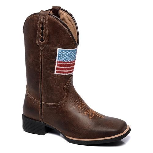 Bota Texana Masculina Bandeira em Couro - TEXASKING