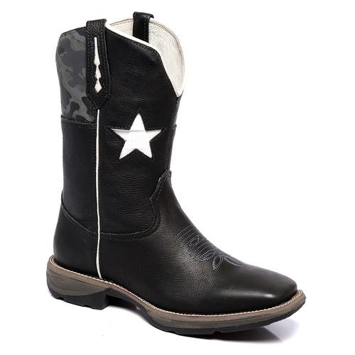 Bota Texana Masculina Bandeira Texas em Couro - TEXASKING
