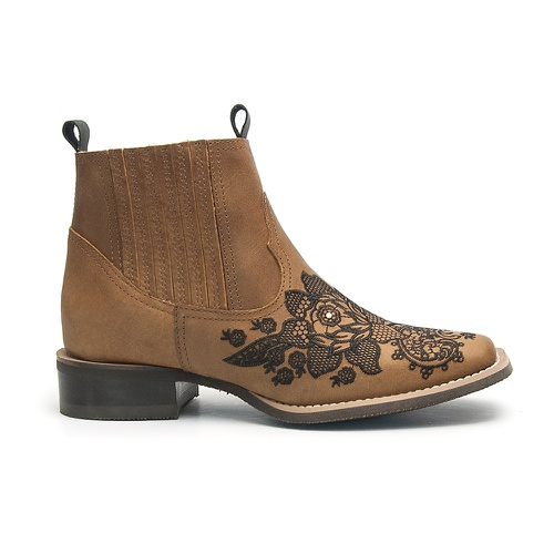 Botina Feminina Bico Quadrado Floral Preto Vimar Boots