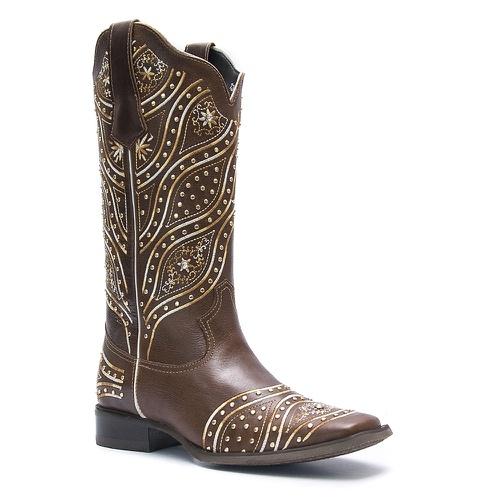 Bota Texana Feminina Roper em Couro Atlanta Café Vimar Boots