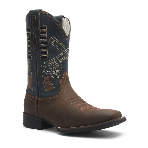 Bota Texana Masculina em Couro cor Marrom com Azul Marinho. Bordado de Revólver Guns Vimar Boots