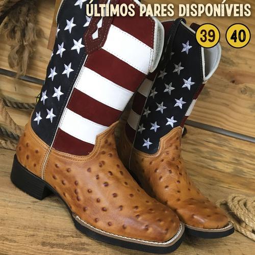 Bota Texana Masculina Estados Unidos em Couro - Úl... - TEXASKING