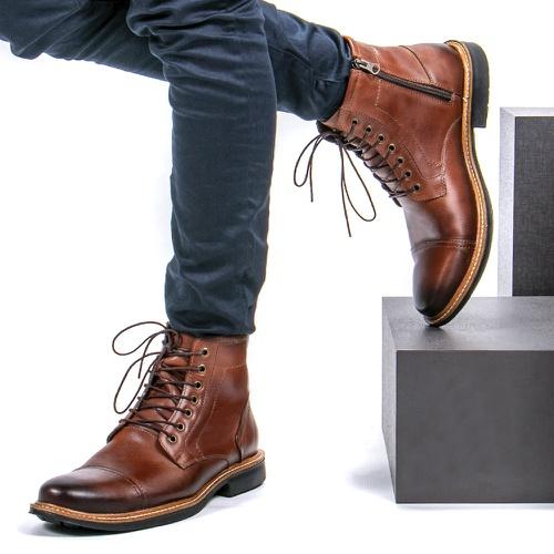 Bota Coturno Casual Masculino Faway Trons Conhaque - Faway - Handmade Shoes