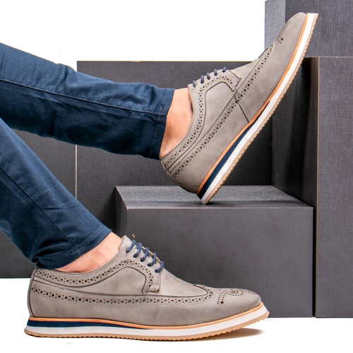 Sapato Casual Derby Brogue Durhan Off White - Faway - Handmade Shoes