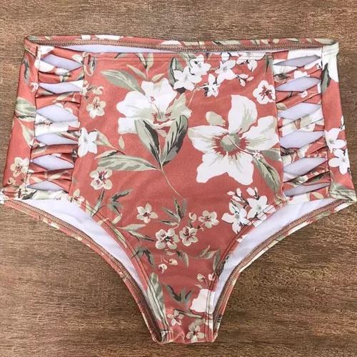 Calcinha De Biquíni Retrô x Pequeno Plus Size Flor... - Via Sol Brazil