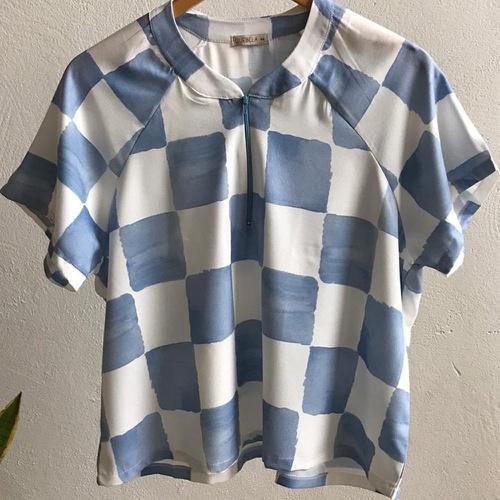 Blusa Nanda Plus Size Vichy Azul - Via Sol Brazil