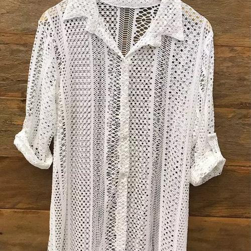 Camisa De Praia Renda Off White - Via Sol Brazil