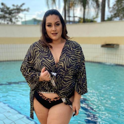 Kimono Plus Size Liz Safari - Via Sol Brazil