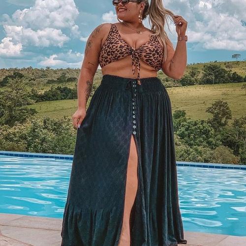 Saia Maya Plus Size Preto - Via Sol Brazil