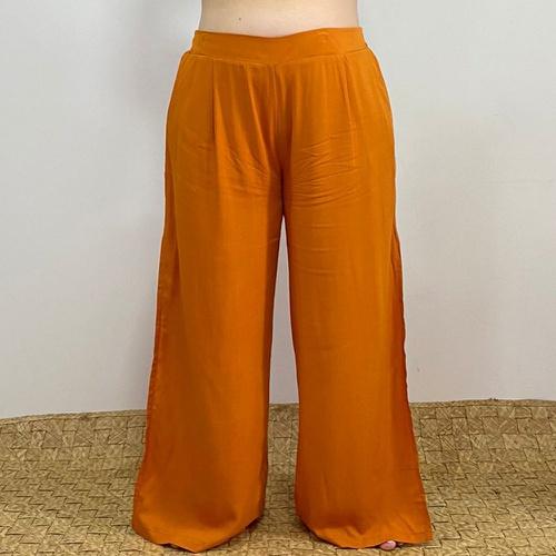 Calça Pantalona Eva Plus Size Laranja - Via Sol Brazil
