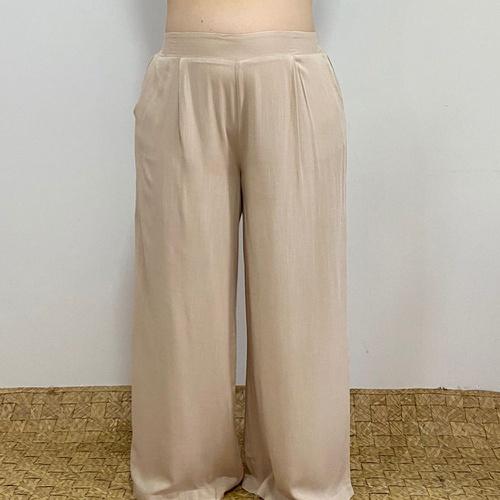 Calça Pantalona Eva Plus Size Off White - Via Sol Brazil