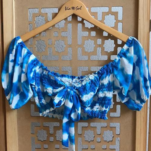 Cropped Bia Tie Dye Azul - Via Sol Brazil