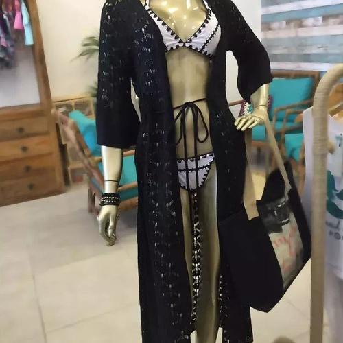 Kimono Tricot Longo Preto - Via Sol Brazil