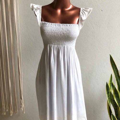 Vestido Ciganinha Curto Off White - Via Sol Brazil