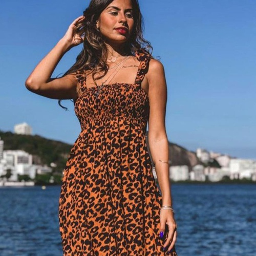 Vestido Ciganinha Curto Onça - Via Sol Brazil
