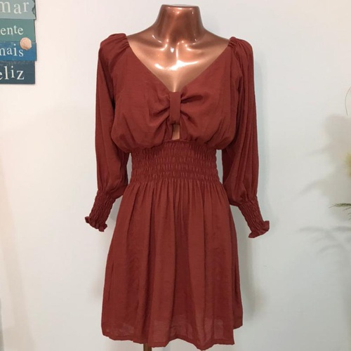 Vestido Essência Terracota - Via Sol Brazil