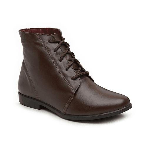 Bota Feminina de Cano Curto Marrom - Botin - 240-0 - Sapato RetrÔ