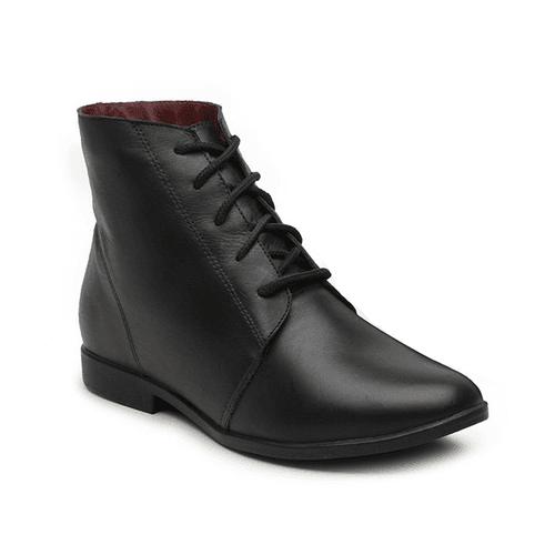 Bota Feminina de Cano Curto Preto - Botin - 240-08 - Sapato RetrÔ