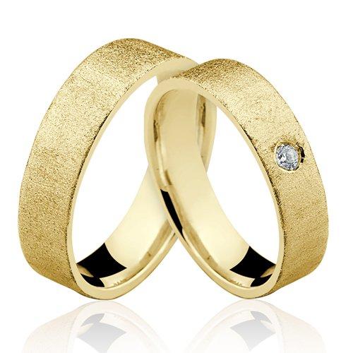 Alianças de Ouro 18k/750 Com Diamante AL124