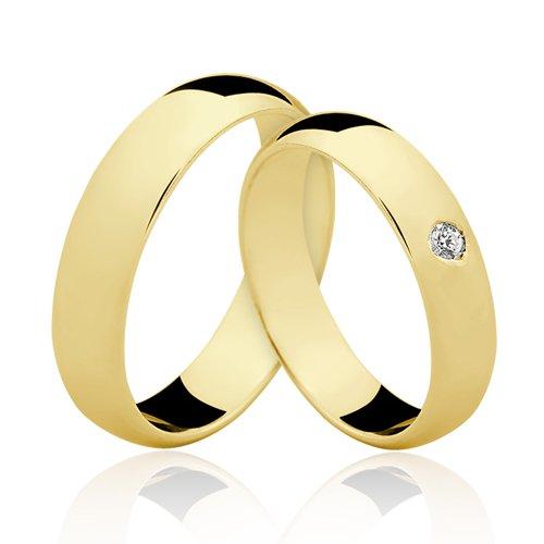 Alianças de Ouro 18k/750 com Diamante AL19
