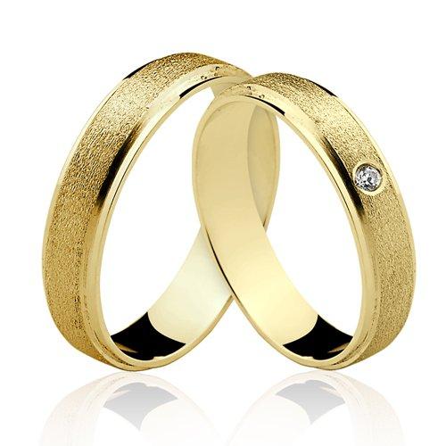 Alianças de Ouro 18k/750 com Diamante ALP09