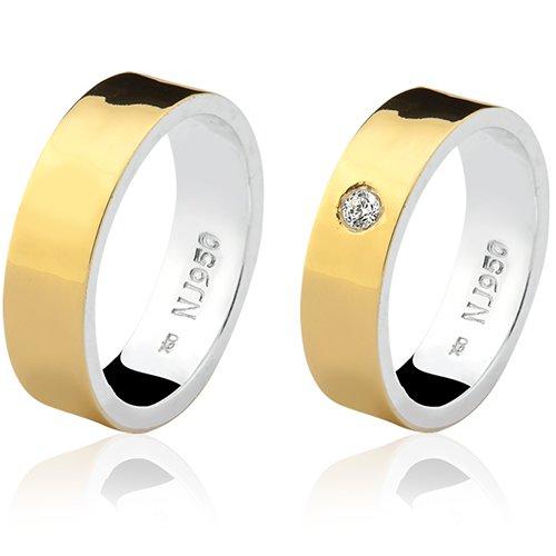 Par de Aliança Casamento/Noivado Mista em Ouro 18k/750 e Prata 950 AL150