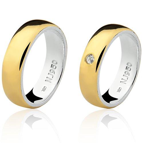 Par de Aliança Casamento/Noivado Mista em Ouro 18k/750 e Prata 950 AL151