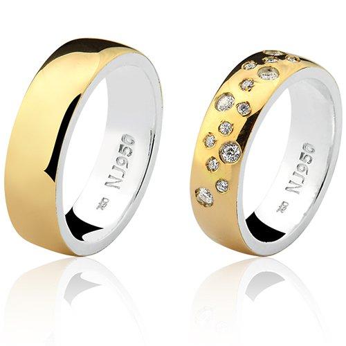 Par de Aliança Casamento/Noivado Mista em Ouro 18k/750 e Prata 950 AL191