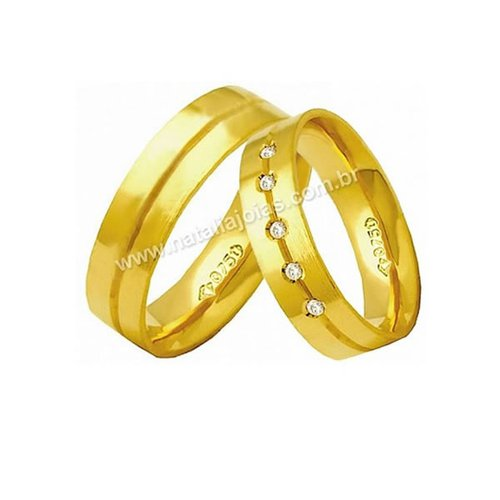 Alianças de Ouro 18k/750 Anatomica com Diamantes AE152