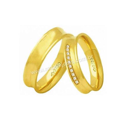 Alianças de Ouro 18k/750 Anatomica com Diamantes AE157