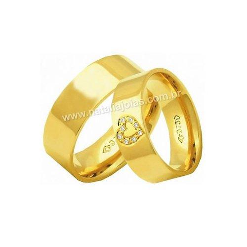 Alianças de Ouro 18k/750 Anatomica com diamantes AE179