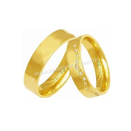 Alianças de Ouro 18k/750 Anatomica com Diamantes AE164