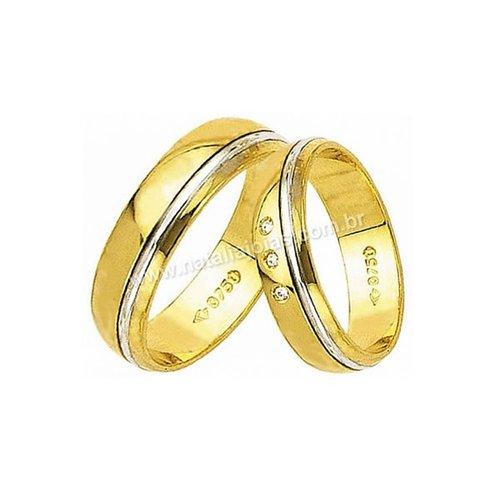 Alianças de Ouro 18k/750 com Diamantes AE43