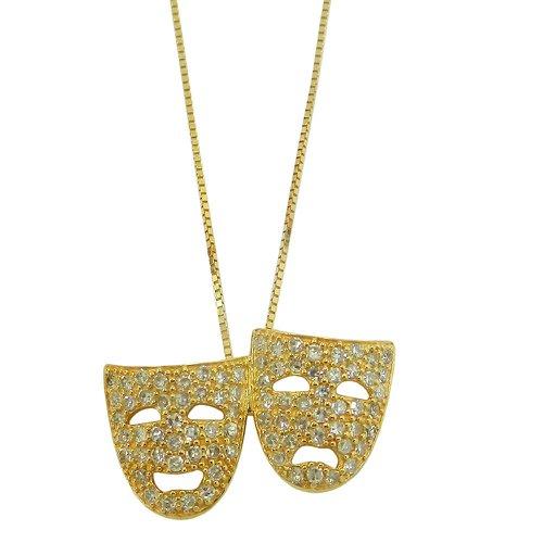 Gargantilha em Ouro 18k Mascaras de Teatro com Brilhantes