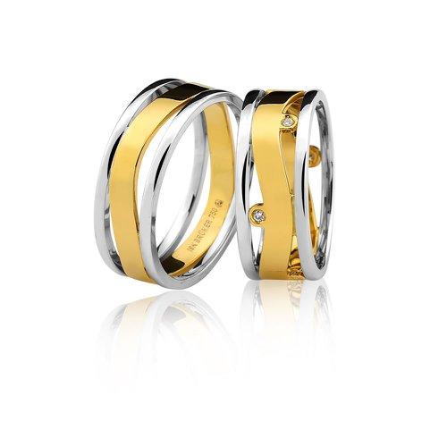 Alianças Top Bodas de Prata em Ouro 18K Com Brilhantes