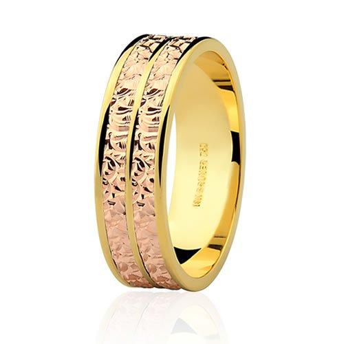 Par de Alianças de Ouro Amarelo e Rosé 6mm
