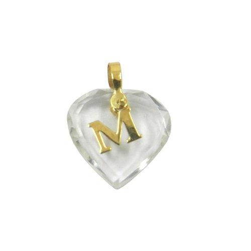 Pingente em Ouro 18k Letra Móvel com Coração de Cristal
