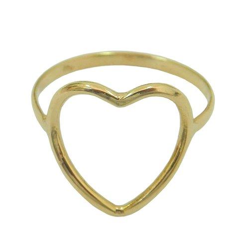 Anel Liso Coração Vazado em Ouro 18k 0,750