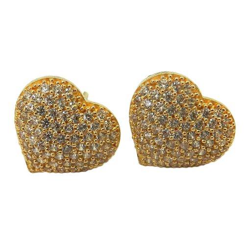 Brinco Coração em Ouro 18k 0,750 com Zircônias