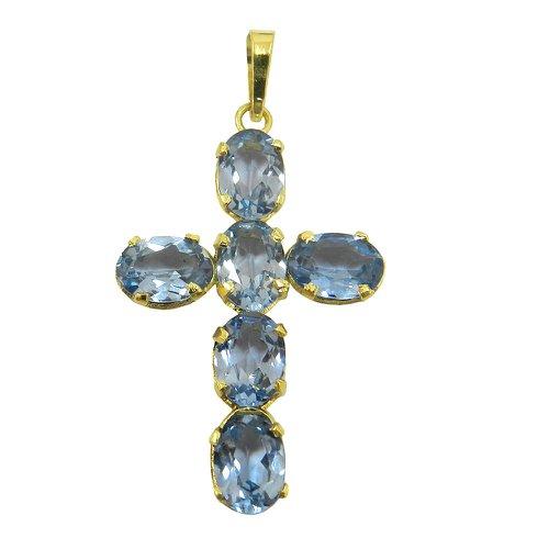 Pingente Cruz Topázio Azul em Ouro 18k