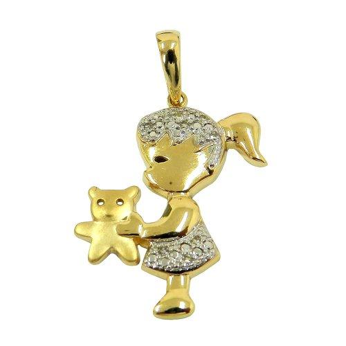 Pingente Menina com Urso em Ouro com Brilhantes