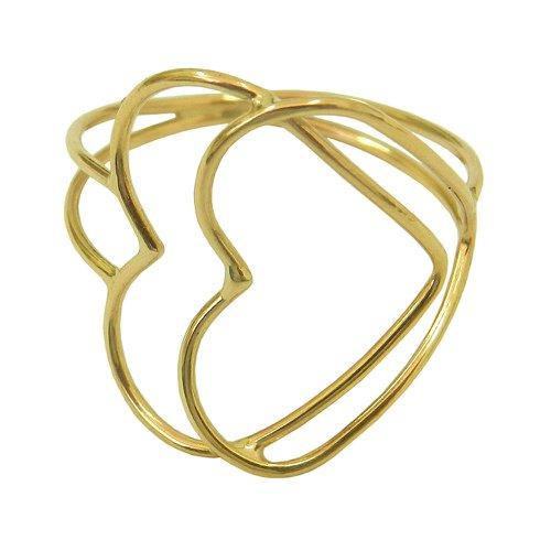 Anel Liso Dois Corações Vazado em ouro 18k 0,750