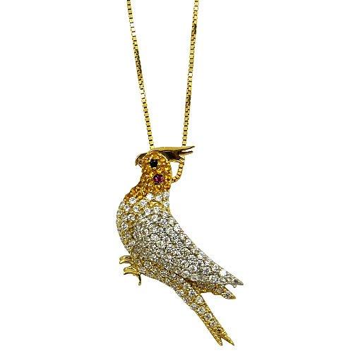 Pingente Pássaro Calopsita de Ouro 18K com Zircônias