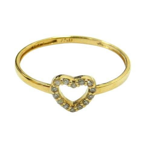 Anel em Ouro 18k Vazado Coração com Brilhantes