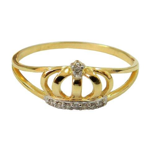 Anel de Ouro 18k com Coroa de Rainha ou Princesa com Brilhantes