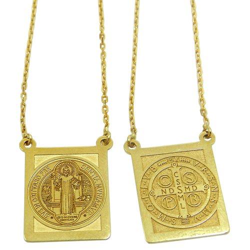 Escapulário em Ouro 18k Oração de São Bento